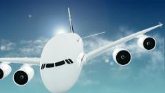 Airplane in Sky With Sun and Clouds Stock Footage