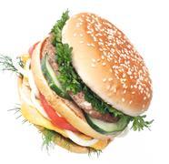 Cheeseburger isolated on white background - stock photo