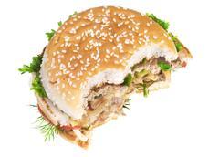 Cheeseburger isolated on white background Stock Photos