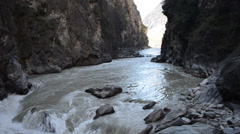 River rapids on lower Yantze river in Tiger leaping gorge in yunnan, china - stock footage