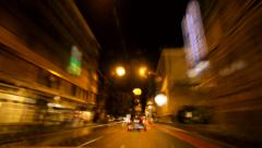 Car onboard view. city drive. night city lights. urban. traffic transportation Stock Footage