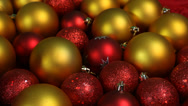 Stock Video Footage of Red Gold Christmas Balls Close Up Slider