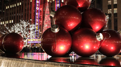 Red Christmas decorations on Avenue of the Americas, New York City - stock footage