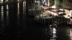 Grand Canal with restaurants at night, Venice, Italy Stock Footage