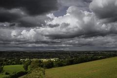 dramatic sky and landscape - stock photo