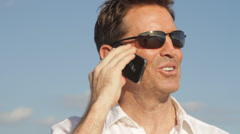 Close up of Caucasian man on cell phone Stock Footage