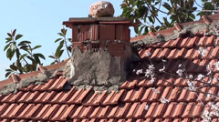Country house zoom out chimney 2 Stock Footage
