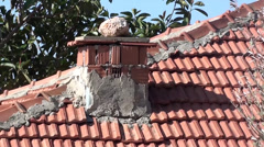Country house zoom out chimney Stock Footage