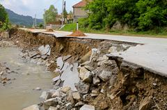 Road landslip Stock Photos