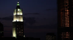 Night View of Woolworth Building Manhattan New York Stock Video Stock Footage