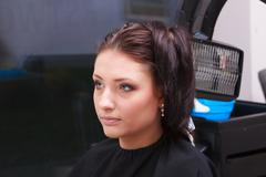 woman dying hair in hairdressing beauty salon. hairstyle. - stock photo