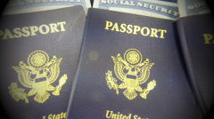 US passport and Social security card - Travel concept Stock Footage