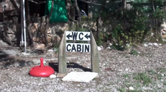 Wc and cabin sign board zoom in - stock footage