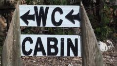 Wc and cabin sign board zoom out - stock footage