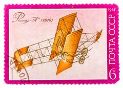 "stamp printed by ussr (russia) shows sikorsky aircraft with the inscription "" - stock photo"