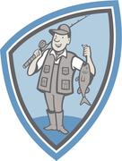 Stock Illustration of fly fisherman showing fish catch cartoon