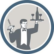 Waiter serving wine bottle on platter retro Stock Illustration