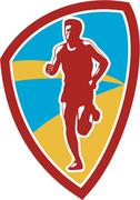 Stock Illustration of marathon runner shield retro