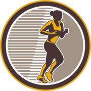 Female marathon runner side view retro Stock Illustration