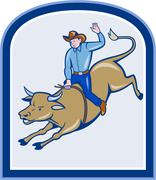 rodeo cowboy bull riding cartoon - stock illustration