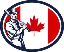 canadian baseball batter canada flag retro - stock illustration