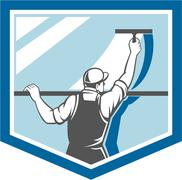 window cleaner washer worker shield retro - stock illustration