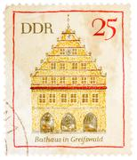 Stamp printed in german democratic republic (east germany) shows greifswald t Stock Photos
