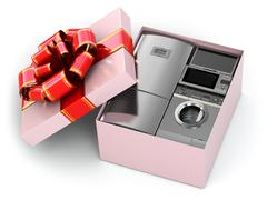 Home appliance in gift box with ribbons and bow. Stock Illustration