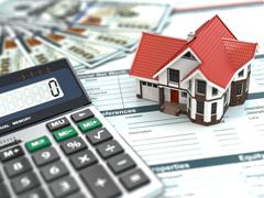 mortgage calculator. house, noney and document. - stock illustration