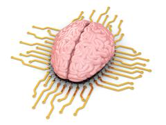 Stock Illustration of human brain as computer chip. concept of cpu.