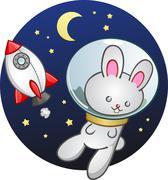 Rocket Ship Bunny Rabbit Cartoon Character - stock illustration