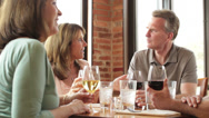 Stock Video Footage of Two caucasian couples at restaurant celebrating with wine