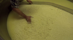 Sifting Cheese Curd in an big industrial tank - stock footage