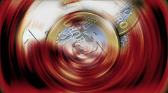 One euro coins spinning Stock Footage