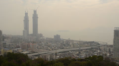 View over Xiamen island from hilltop Stock Footage