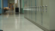 Stock Video Footage of Junior high students with backpacks in corridor
