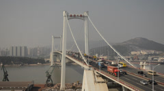 Traffic on Haicang bridge in Xiamen, China. Stock Footage