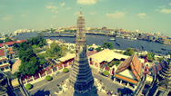 Stock Video Footage of View of Bangkok from Wat Arun Temple