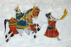 traditional colourful medieval wall painting in udaipur ,India - stock photo