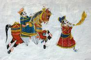 Stock Photo of traditional colourful medieval wall painting in udaipur ,India