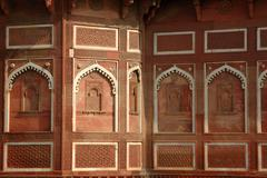 Beautiful ornate wall inside agra red fort,famous landmark ,India Stock Photos
