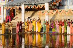Ritual ceremony at holy pushkar sarovar lake ,Pushkar,India Stock Photos