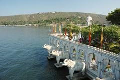 summer palace at jag mandir island on pichola lake,udaipur, india - stock photo