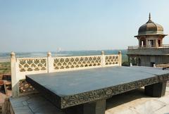 throne of jahangir (takht-i-jahangir ) ,agra,uttar pradesh,india - stock photo