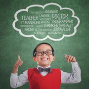 Elementary student with proud expression Stock Illustration