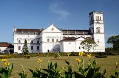 Worshipers visiting church of st. francis of assisi,old goa,india Stock Photos