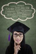 female diploma thinking about her future career - stock illustration