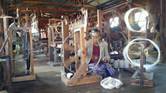 Burmese textile production silk and cotton factory, Inle Lake. Myanmar travel Stock Footage