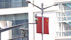 CCTV security camera infront of chinese flag Stock Footage