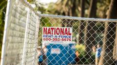 Rent a Fence Sign Stock Photos